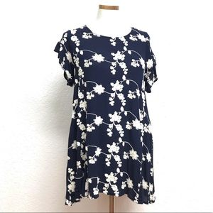 Altars State blue embroidered swing dress L